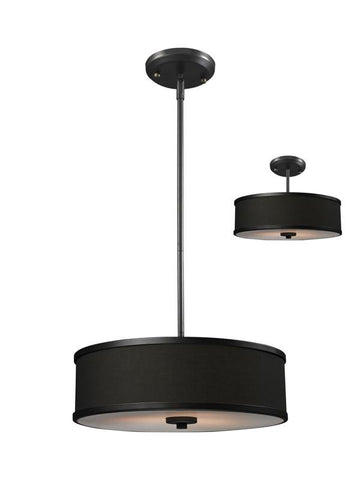 Z-Lite 166-16 Cameo Collection Chocolate/Bronze Finish 3 Light Convertible Pendant - Peazz.com