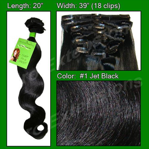 Pro-Extensions PRBD-20-1   #1 Jet Black - 20 inch Body Wave - Peazz.com