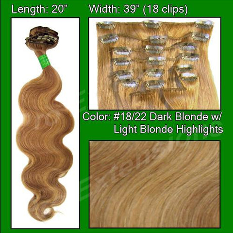 "Pro-Extensions PRBD-20-1822   #18/22 Dark Blonde with Light Highlights - 20"" Body Wave - Peazz.com"