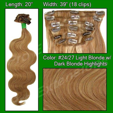 "Pro-Extensions PRBD-20-2427   #24/27 Light Blonde w Dark Blonde Highlights - 20"" Body Wave - Peazz.com"
