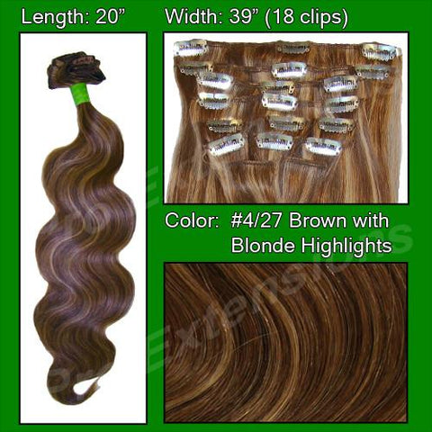 "Pro-Extensions PRBD-20-427   #4/27 Dark Brown w Golden Blonde Highlights - 20"" Body Wave - Peazz.com"