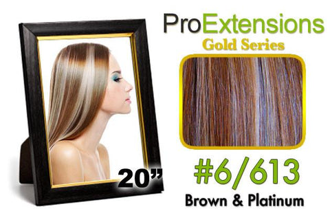 Pro-Extensions PRCT-20-6613 #6/613 Chestnut Brown w/Platinum Highlights Pro Cute - Peazz.com