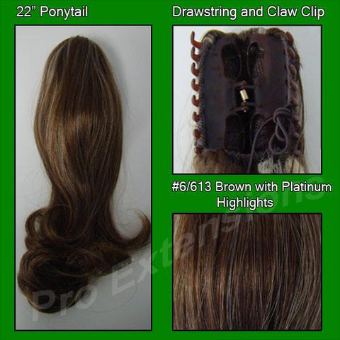 Pro-Extensions PRPY-6613   #6/613 Chestnut Brown w/ Platinum Highlights Ponytail - Peazz.com