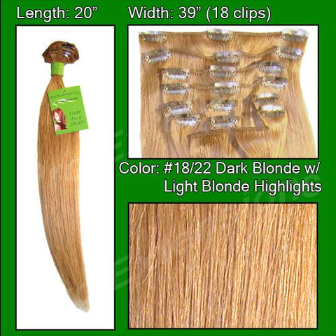 Pro-Extensions PRRM-20-1822   #18/22 Dark Blonde w/ Light Blonde Highlights - 20 inch Remi - Peazz.com
