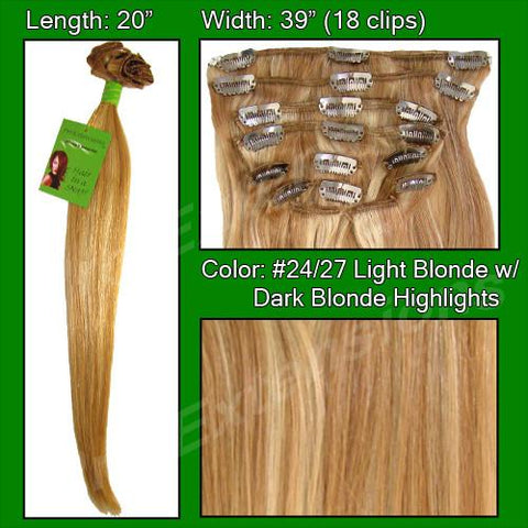 Pro-Extensions PRRM-20-2427   #24/27 Medium Blonde w/ Dark Blonde Highlights- 20 inch Remi - Peazz.com