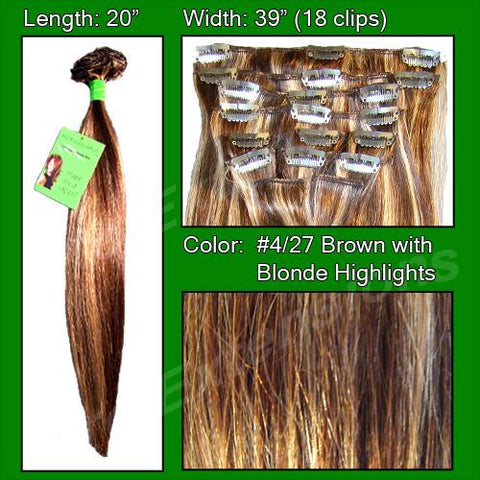 Pro-Extensions PRRM-20-427   #4/27 Brown w/ Blonde Highlights - 20 inch Remi - Peazz.com