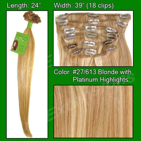 Pro-Extensions PRRM-24-27613   #27/613 Golden Blonde w/ Platinum Highlights - 24 inch REMI - Peazz.com