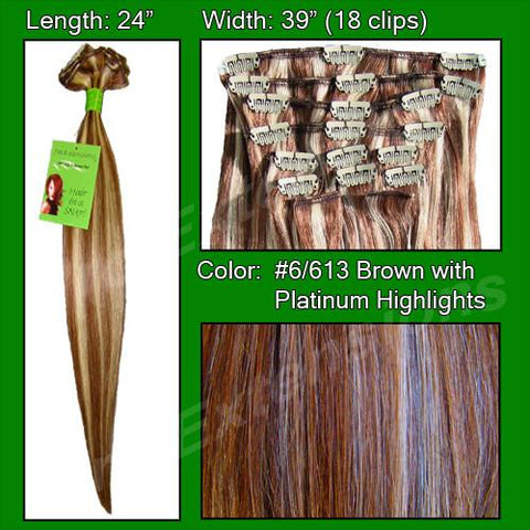 Pro-Extensions PRRM-24-6613   #6/613 Chestnut Brown w/ Platinum Highlights - 24 inch REMI - Peazz.com