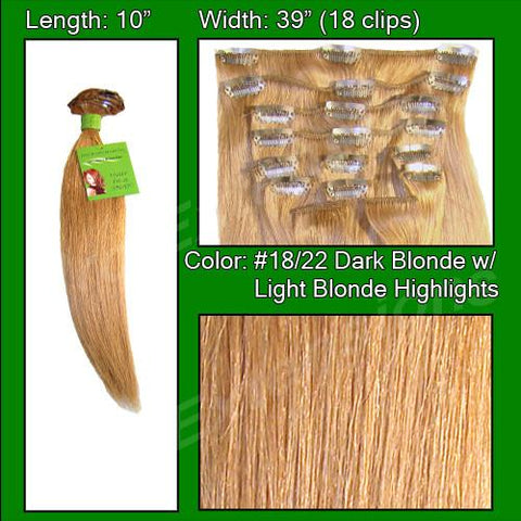 Pro-Extensions PRST-10-1822 #18/22 Dark Blonde w/ Light Highlights - 10 inch - Peazz.com