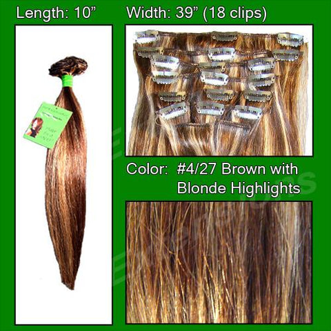 Pro-Extensions PRST-10-427 #4/27 Brown w/ Blonde Highlights - 10 inch - Peazz.com