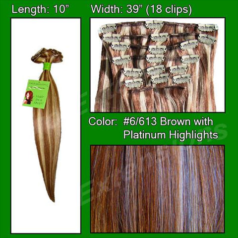 Pro-Extensions PRST-10-6613 #6/613 Chestnut Brown with Platinum Highlights - 10 inch - Peazz.com