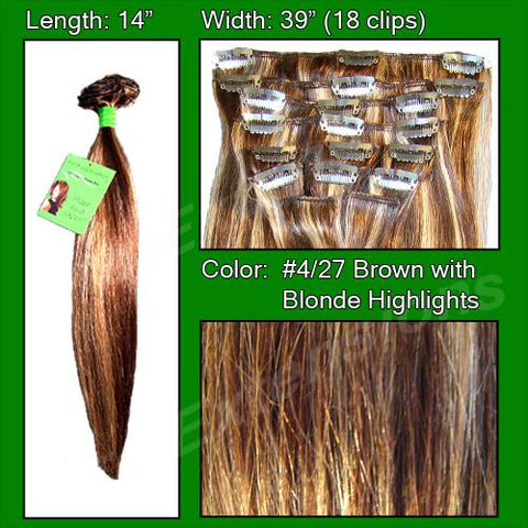 Pro-Extensions PRST-14-427 #4/27 Dark Brown w/ Godlen Blonde Highlights - 14 inch - Peazz.com