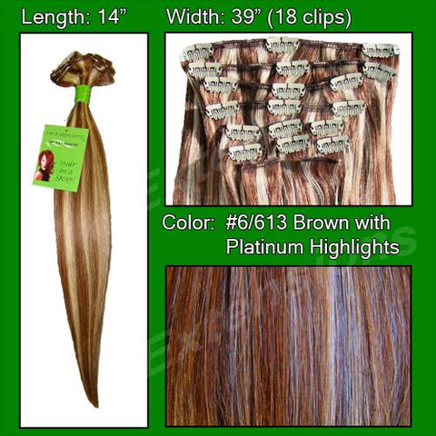 Pro-Extensions PRST-14-6613   #6/613 Chestnut Brown w/ Platinum Highlights - 14 inch - Peazz.com