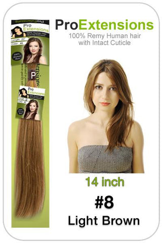 Pro-Extensions PRST-14-8   #8 Light Brown - 14 inch - Peazz.com