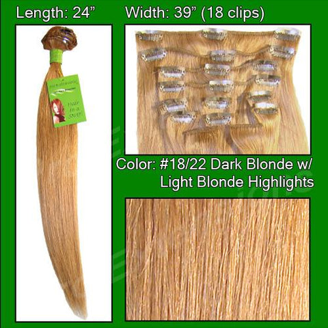 Pro-Extensions PRST-24-1822   #18/22 Dark Blonde with Golden Highlights - 24 inch - Peazz.com