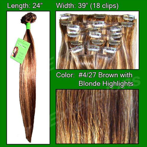 Pro-Extensions PRST-24-427   #4/27 Dark Brown w/ Golden Blonde Highlights - 24 inch - Peazz.com