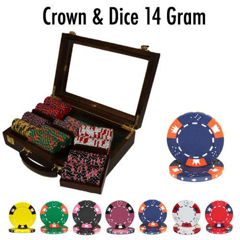 Brybelly PSC-0404W300 300 Ct - Pre-Packaged - Crown & Dice - Walnut - Peazz.com