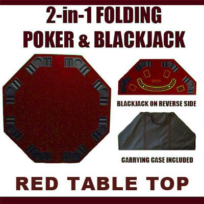 Brybelly TAB-0045 2 in 1 Red Folding Poker & Blackjack Table Top w/ Case - Peazz.com