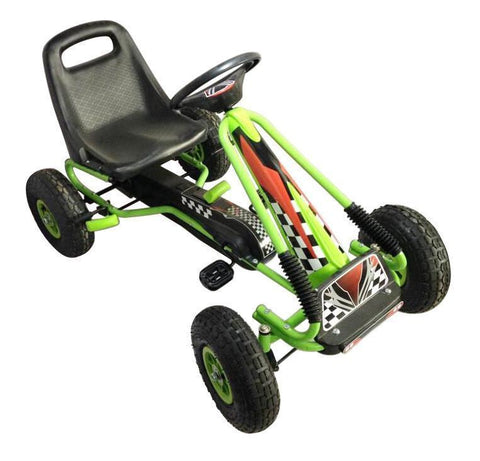 Vroom Rider VRPK01-GRN Racing Pedal Go-Kart w/ Pneumatic Tire - Green - Peazz.com