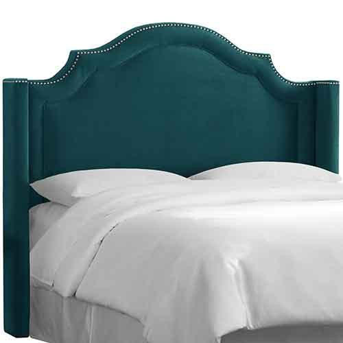 Skyline Furniture 171NB-PWMSTPCC Full Nail Button Arched Wingback Headboard in Mystere Peacock