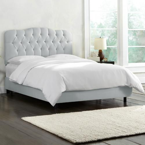 Skyline Tufted Bed Shantung Silver Twin