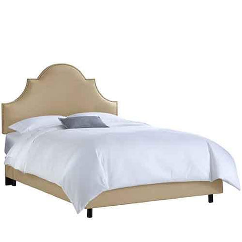 Skyline Furniture 824NBBED-BRLNNSND California King Nail Button High Arch Notched Bed in Linen Sandstone - Peazz.com