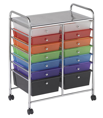 ECR4Kids ELR-20101-AS 14 Drawer Mobile Organizer - Assorted - Peazz.com
