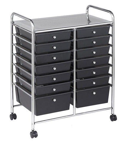ECR4Kids ELR-20101-SM 14 Drawer Mobile Organizer - Smoke - Peazz.com