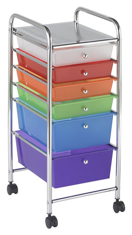 ECR4Kids ELR-20102-AS 6 Drawer Mobile Organizer - Assorted - Peazz.com