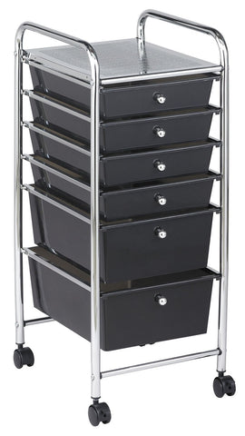 ECR4Kids ELR-20102-SM 6 Drawer Mobile Organizer - Smoke - Peazz.com