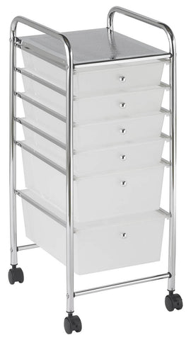 ECR4Kids ELR-20102-WH 6 Drawer Mobile Organizer - White - Peazz.com