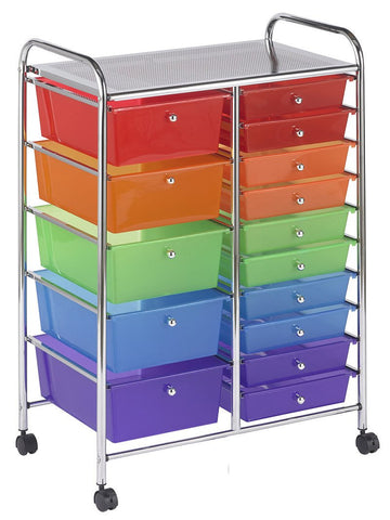 ECR4Kids ELR-20103-AS 15 Drawer Mobile Organizer - Assorted - Peazz.com