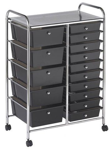 ECR4Kids ELR-20103-SM 15 Drawer Mobile Organizer - Smoke - Peazz.com