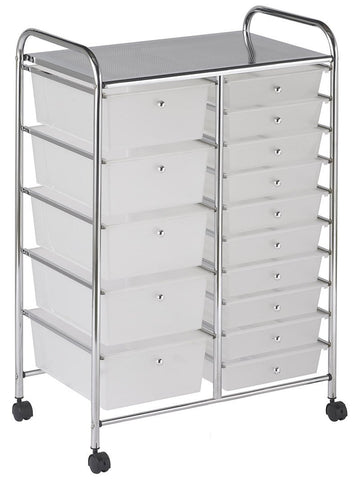 ECR4Kids ELR-20103-WH 15 Drawer Mobile Organizer - White - Peazz.com