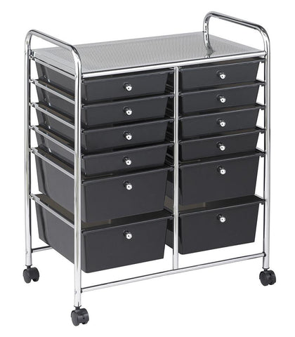 ECR4Kids ELR-20104-SM 12 Drawer (8+4) Mobile Organizer - Smoke - Peazz.com