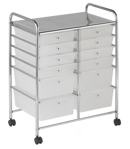 ECR4Kids ELR-20104-WH 12 Drawer (8+4) Mobile Organizer - White - Peazz.com