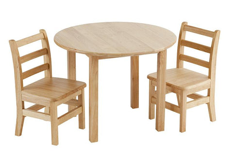 "ECR4Kids ELR-22101 30"" Round Hardwood Table and 2-3 Rung Chairs - Peazz.com"