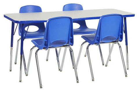 "ECR4Kids ELR14108P4X16-GBLSS Rect. 24""x60"" Table GBL-SS & 4-16""BLG Chairs - Peazz.com"