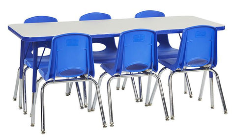 "ECR4Kids ELR14108P6X10-GBLTS Rect. 24""x60"" Table GBL-TS & 6-10""BLG Chairs - Peazz.com"