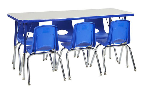 "ECR4Kids ELR14108P6X12-GBLSS Rect. 24""x60"" Table GBL-SS & 6-12""BLG Chairs - Peazz.com"