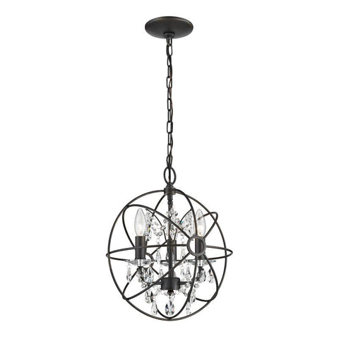 Sterling Industries 124-003 Restoration 3 Light Globe With Crystal Pendant - Peazz.com