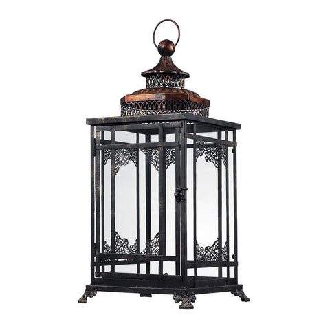 Sterling Industries 128-1013 Black And Gold Hurricane Lantern - Peazz.com