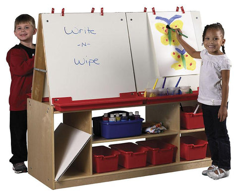 ECR4Kids ELR-0692 4 Station Art Easel with Storage - Peazz.com