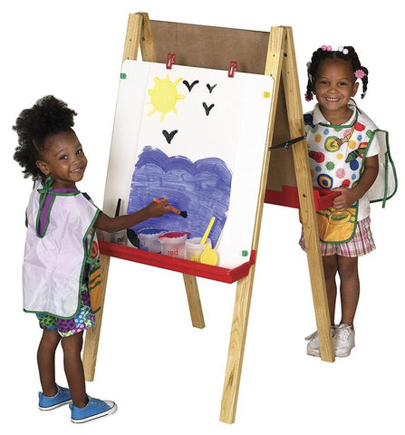 ECR4Kids ELR-008 Double-Sided Adjustable Easel w/ Chlkbrd & DE - Peazz.com