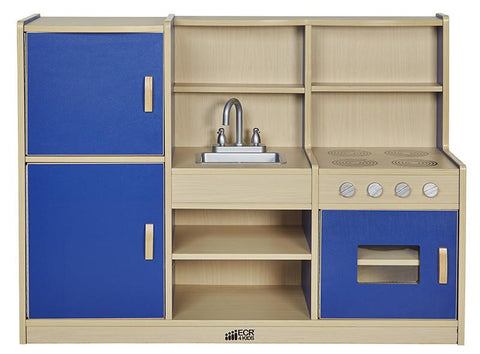ECR4Kids ELR-0750-BL Colorful Essentials 4-in-1 Play Kitchen - BL - Peazz.com