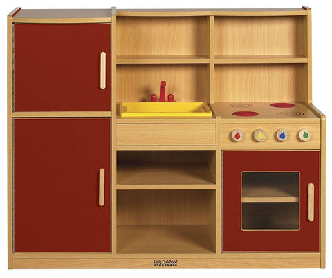 ECR4Kids ELR-0750-RD Colorful Essentials 4-in-1 Play Kitchen - RD - Peazz.com