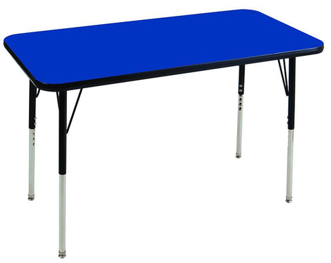 "ECR4Kids ELR-14108-BLBK-SS 24x60"" Rect Table Blue/Black-Standard Swivel - Peazz.com"