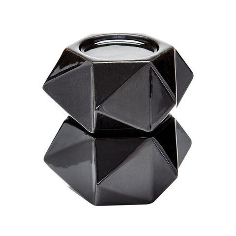 Lazy Susan 857126/S2 Large Ceramic Star Candle Holders - Black. Set Of 2 - Peazz.com