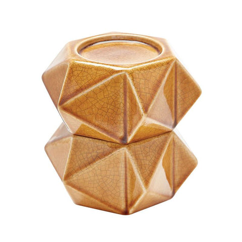 Lazy Susan 857128/S2 Large Ceramic Star Candle Holders - Honey. Set Of 2 - Peazz.com