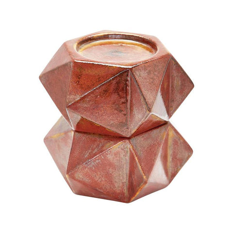 Lazy Susan 857129/S2  Large Ceramic Star Candle Holders - Russet. Set Of 2 - Peazz.com